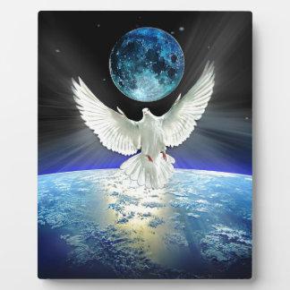 Dove of Peace over Planet Earth Sunrise Plaque