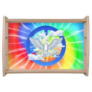 Dove Of Peace Tie Dye Serving Tray