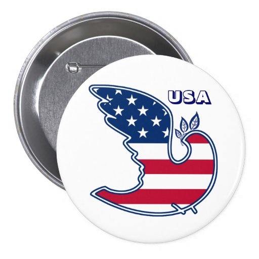Dove of Peace. USA Patriotic Gift Button