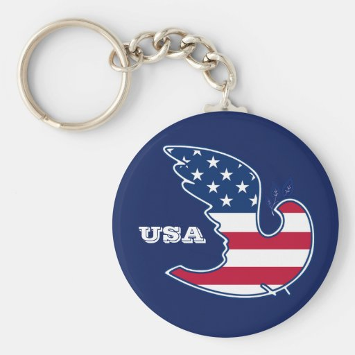 Dove of Peace. USA Patriotic Gift Keychains