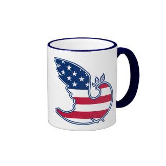 Dove of Peace. USA Patriotic Gift Mug