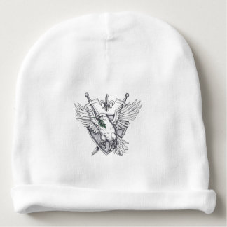 Dove Olive Leaf Sword Crest Tattoo Baby Beanie