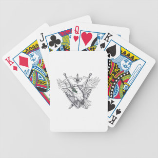 Dove Olive Leaf Sword Crest Tattoo Bicycle Playing Cards