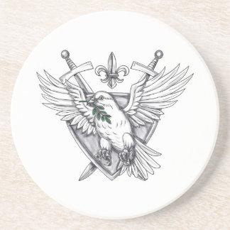 Dove Olive Leaf Sword Crest Tattoo Coaster