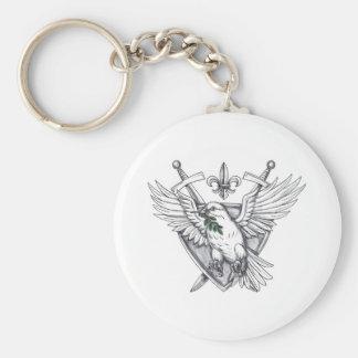 Dove Olive Leaf Sword Crest Tattoo Key Ring