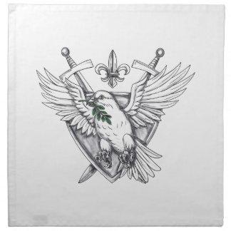 Dove Olive Leaf Sword Crest Tattoo Napkin