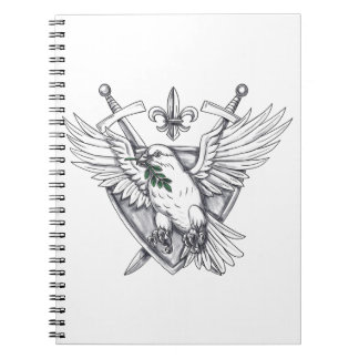 Dove Olive Leaf Sword Crest Tattoo Notebook