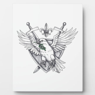 Dove Olive Leaf Sword Crest Tattoo Plaque