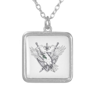 Dove Olive Leaf Sword Crest Tattoo Silver Plated Necklace