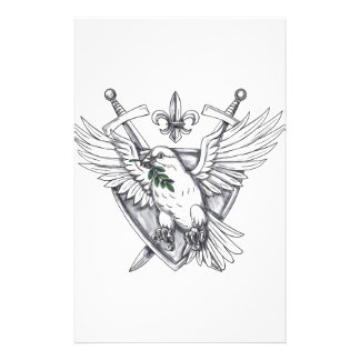 Dove Olive Leaf Sword Crest Tattoo Stationery