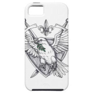Dove Olive Leaf Sword Crest Tattoo Tough iPhone 5 Case