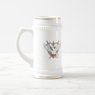 Dove Olive Leaf Sword Fleur De Lis Crest Drawing Beer Stein