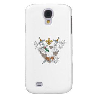 Dove Olive Leaf Sword Fleur De Lis Crest Drawing Galaxy S4 Cases