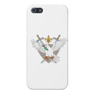 Dove Olive Leaf Sword Fleur De Lis Crest Drawing iPhone 5 Cases