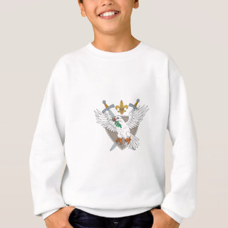 Dove Olive Leaf Sword Fleur De Lis Crest Drawing Sweatshirt