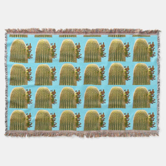 Dove on Saguaro Cartoon Throw Blanket