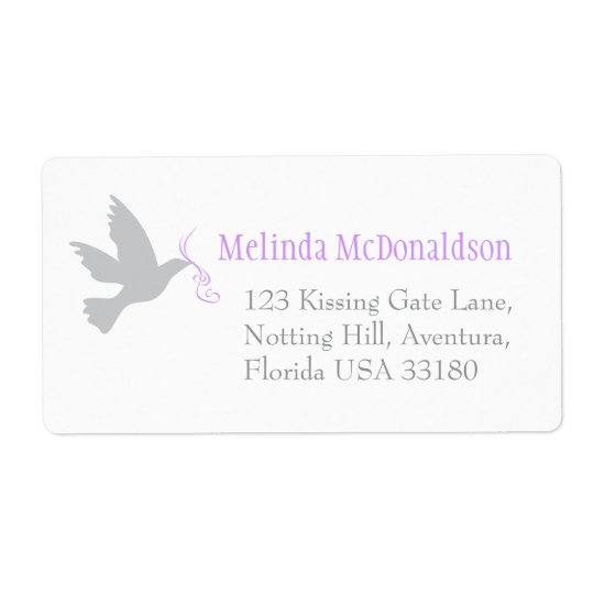 Dove purple wedding return reply large address shipping label