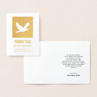 Dove Sympathy Thank You Card on Gold Foil