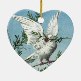 Dove with Olive Branch - Heart Ornament
