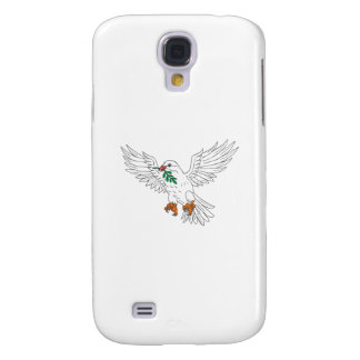 Dove With Olive Leaf Drawing Galaxy S4 Cases