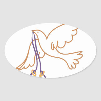 Dove with Rings Oval Sticker