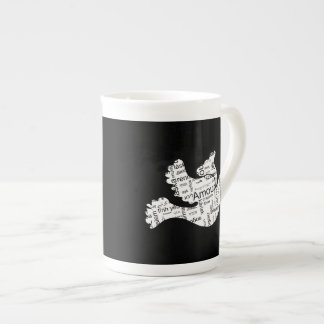 Dove word typography love in different languages tea cup