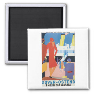 Dover Ostend  Belgian Railway Square Magnet