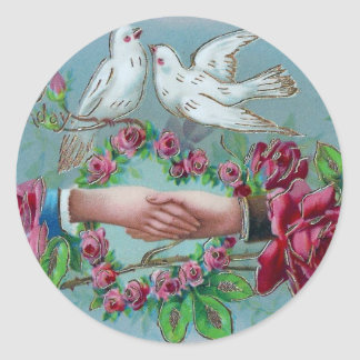 Doves and Handshake Birthday Classic Round Sticker