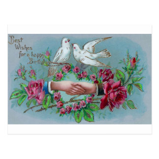 Doves and Handshake Birthday Postcard