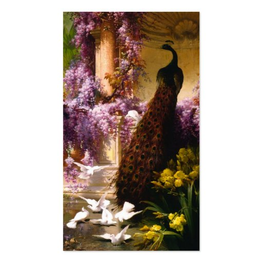 Doves and Peacocks in a Garden Business Cards