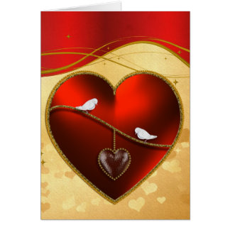 Doves and Ruby Red Heart Card