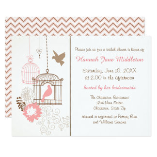 Doves & Cages - 3x5 Bridal Shower Invitation