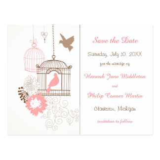Doves & Cages - Save the Date Post Card