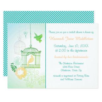 Doves & Cages Teal - 3x5 Bridal Shower Invitation