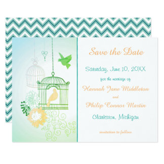 Doves & Cages Teal - 3x5 Save the Date Card