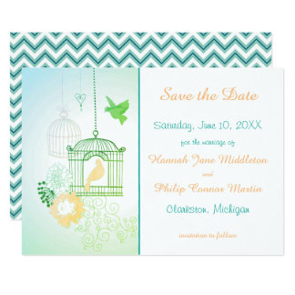 Doves & Cages Teal - Save the Date Card