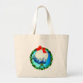 DOVES & HOLLY WREATH by SHARON SHARPE Jumbo Tote Bag