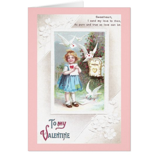 Doves, Mailbox & Girl Vintage Valentine Card