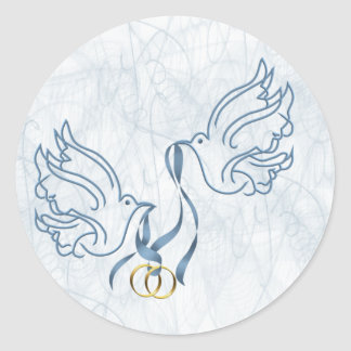 Doves w/ Wedding Rings Classic Round Sticker