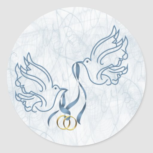 Doves w/ Wedding Rings Stickers