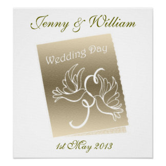 Doves Wedding Customisable Poster
