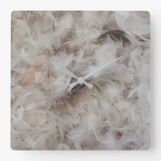 Down Comforter Bird Feathers Photography Elegant Square Wall Clock