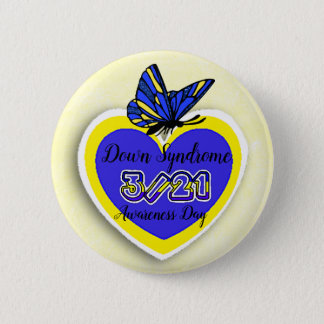 DOWN SYNDROME AWARENESS DAY  March 21 Butterfly 6 Cm Round Badge
