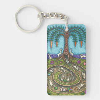 DOWN THE RABBIT HOLE FOLK ART KEYCHAIN Customize