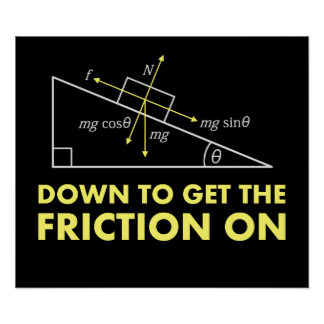 Down to Get the Friction On Physics Diagram Poster