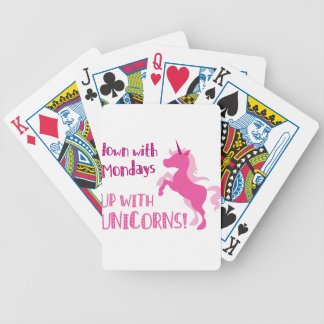 down with mondays up with unicorns bicycle playing cards
