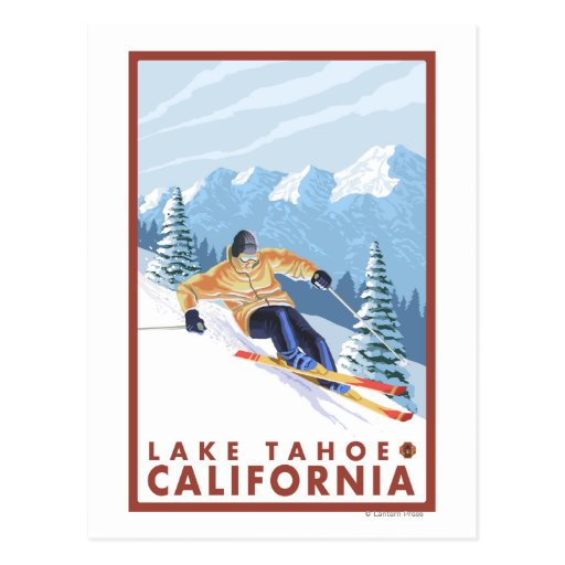 Downhhill Snow Skier - Lake Tahoe, California Post Cards