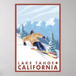 Downhhill Snow Skier - Lake Tahoe, California Posters