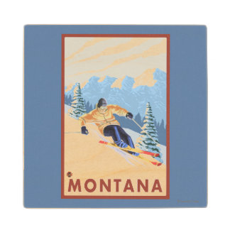 Downhhill Snow Skier - Montana Maple Wood Coaster