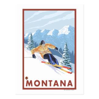 Downhhill Snow Skier - Montana Postcard